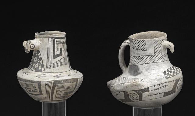 Two Anasazi black-on-white jars