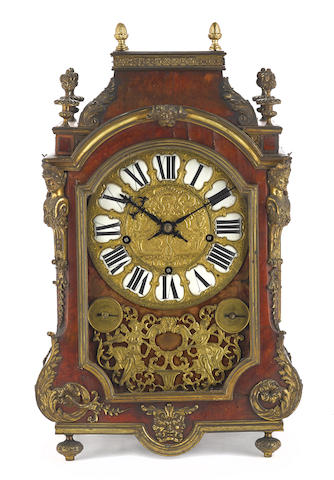 A Louis XIV style gilt bronze mounted boulle quarter chiming bracket clock