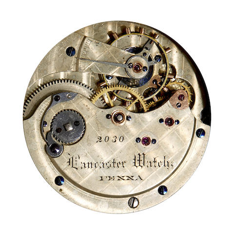 Lancaster Watch Co. Two rare hunter case watch movements with consecutive serial numbers