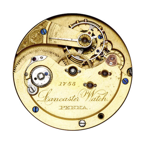 Lancaster Watch Co. A rare silver hunter cased watch and two rare hunter cased movements