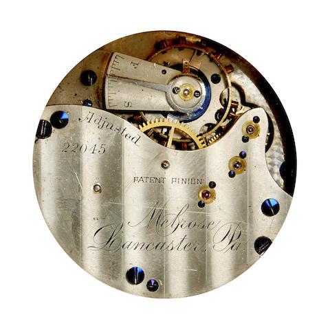 Lancaster Watch Co. A fine 14K gold railroad themed hunter cased watch