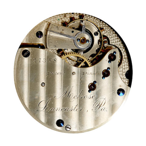 Lancaster Watch Co. An 18K gold box hinge hunter cased watch