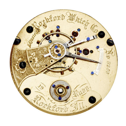 Rockford. A highly jeweled movement for a hunter cased watch