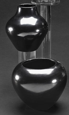 Two San Ildefonso blackware jars