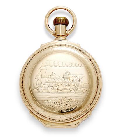 An interesting 14K gold railroad themed box hinge hunter cased watch