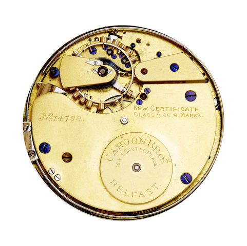 A fine 18K gold hunter cased minute repeating keyless free sprung lever watch awarded a Kew Certificate