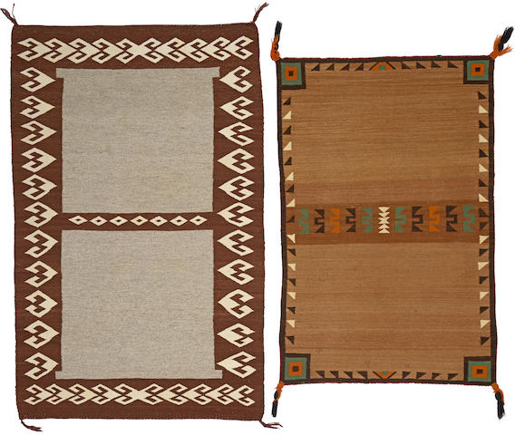 Two Navajo double saddle blankets