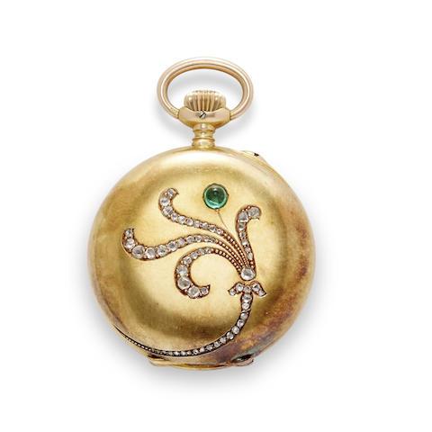 Glashütte. A fine 14K gold diamond- and emerald-set open face fob watch with original box and guarantee certificate
