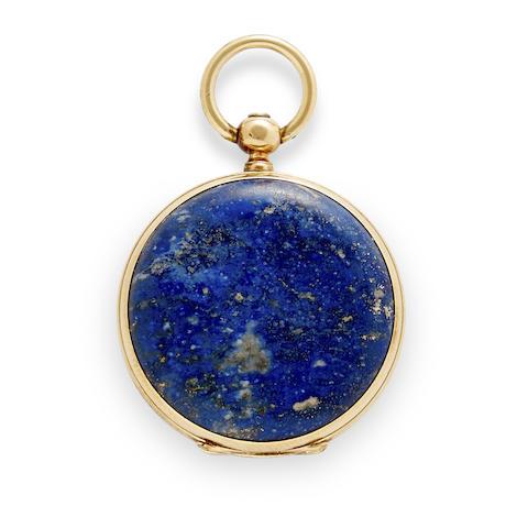 A small gold mounted lapis lazuli fob watch