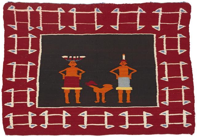 A Navajo pictorial saddle blanket