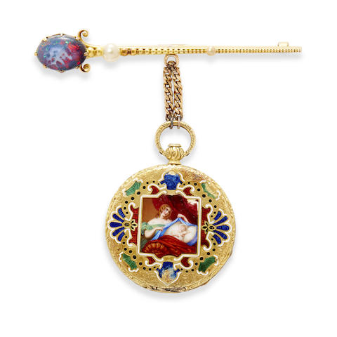 A rare enameled gold ultra-thin bagnolet caliber fob watch and a black opal, pearl and gold brooch