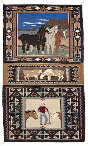A Navajo Teec Nos Pos pictorial double saddle blanket