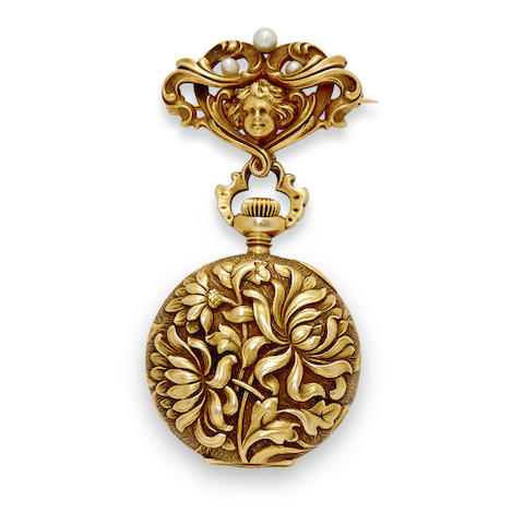 Waltham. A fine 14K gold fob watch and brooch