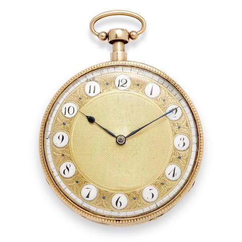 "An 18K rose gold open face quarter repeating musical watch Swiss, circa 1810, maker's mark ""AM"" in a rectangle, no. 105"