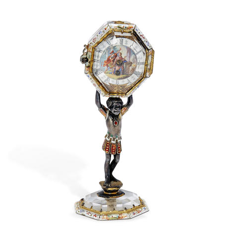 A fine enameled and gilt silver mounted rock crystal Renaissance-style watch on stand