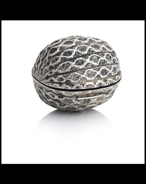 A Victorian silver walnut shaped vinaigrette