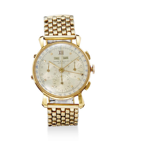 Baume & Mercier. An 18K rose gold calendar chronograph