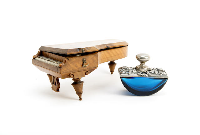 A Walnut and bone inkwell modelled as a grand piano