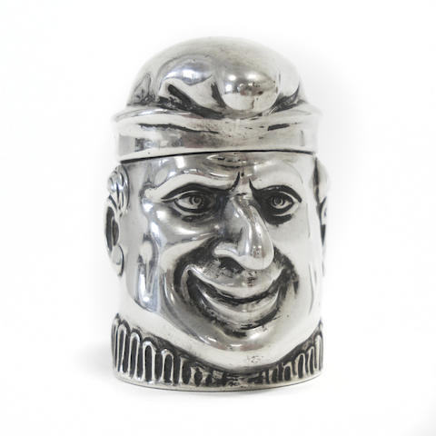 A Continental silver inkwell in the form of Mr Punch