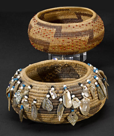 Two Pomo beaded baskets