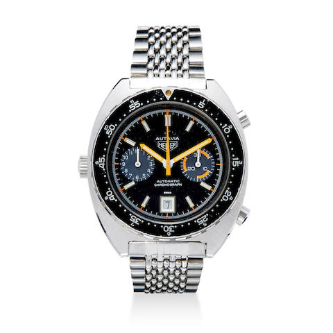 A stainless steel automatic chronograph watch with date and bracelet