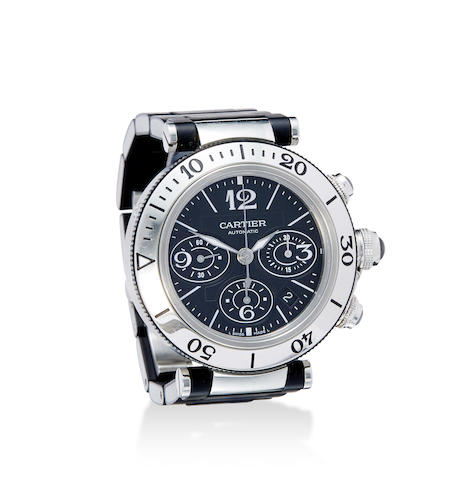 A stainless steel automatic diver's chronograph and bracelet