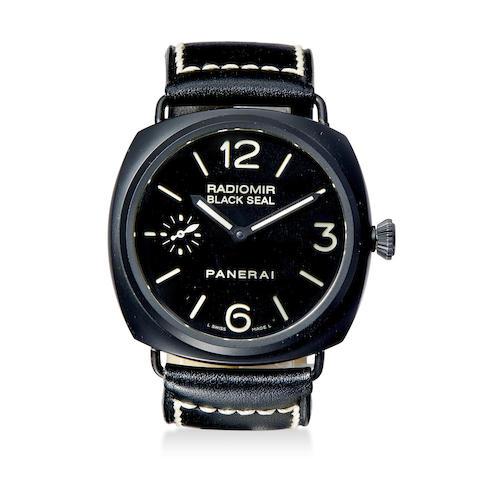 Panerai. A black ceramic diver's wristwatch