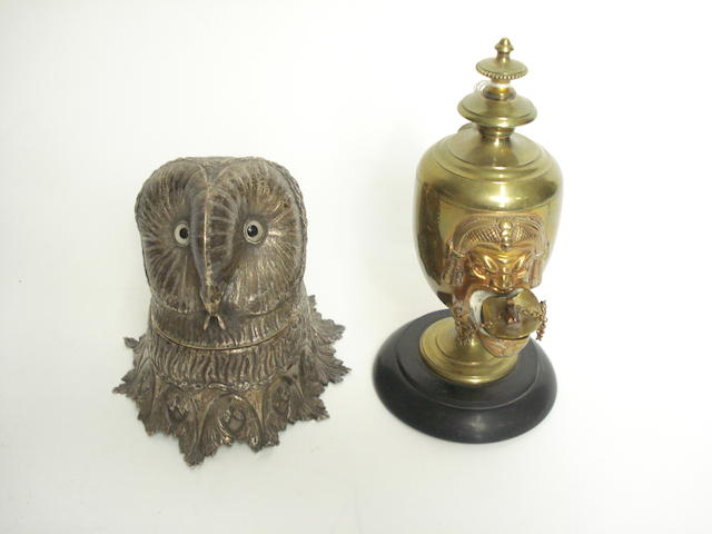 A Continental silver inkwell in the form of an owl's head