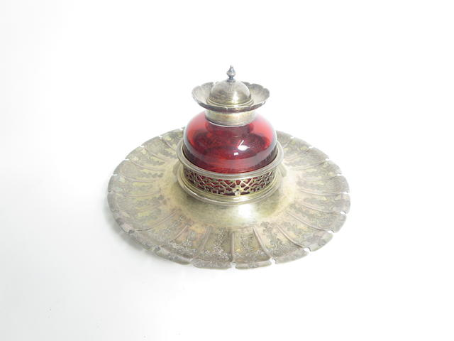 A Victorian silver-gilt and red glass inkwell