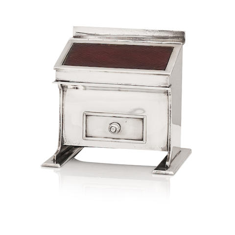 An early 20th century silver mounted inkwell in the form of a davenport