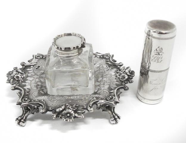 A George III silver inkwell