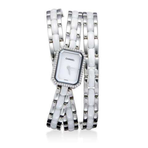Chanel. An unusual diamond, stainless steel and ceramic bracelet watch
