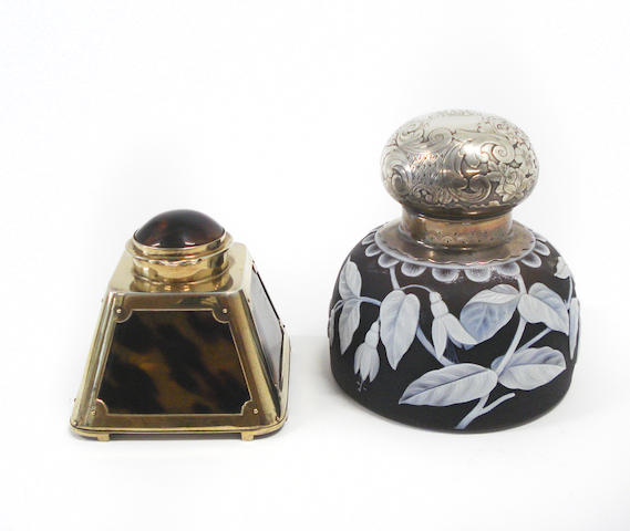 A 19th century American silver mounted cameo glass inkwell