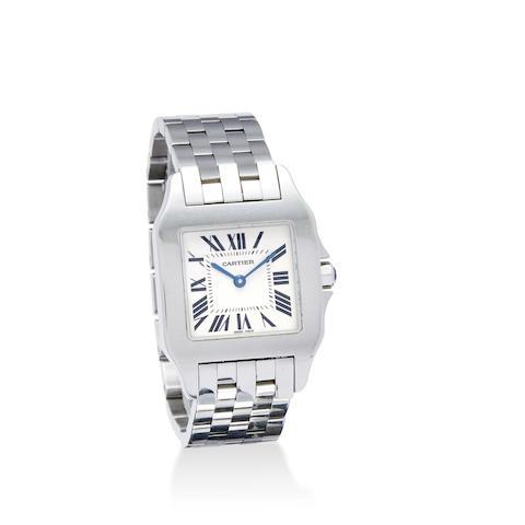 Cartier. A stainless steel Santos bracelet watch