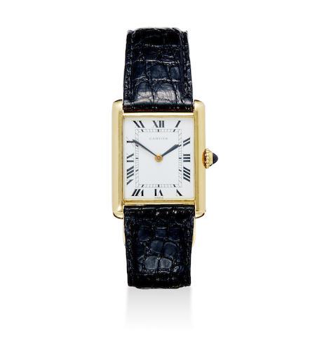 Cartier, Paris. An 18K gold Tank wristwatch