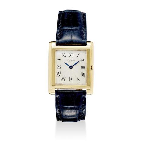 An 18K gold Tank style wristwatch 1950's