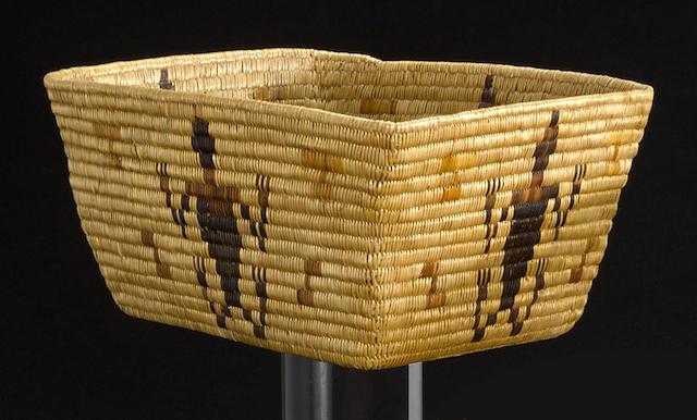 A Panamint polychrome rectangular basket