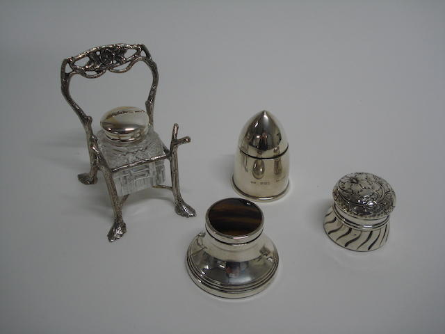 An inkwell formed as a chair