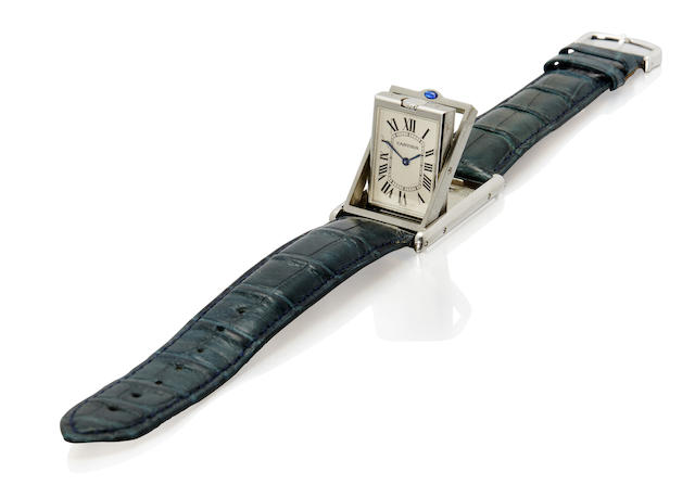 Cartier. A stainless steel Tank Basculante wristwatch