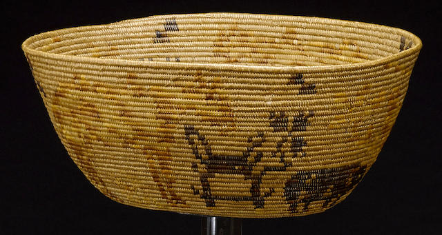 A Mission polychrome oval basket