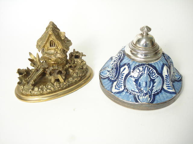A French silver mounted Delft-style ceramic inkpot