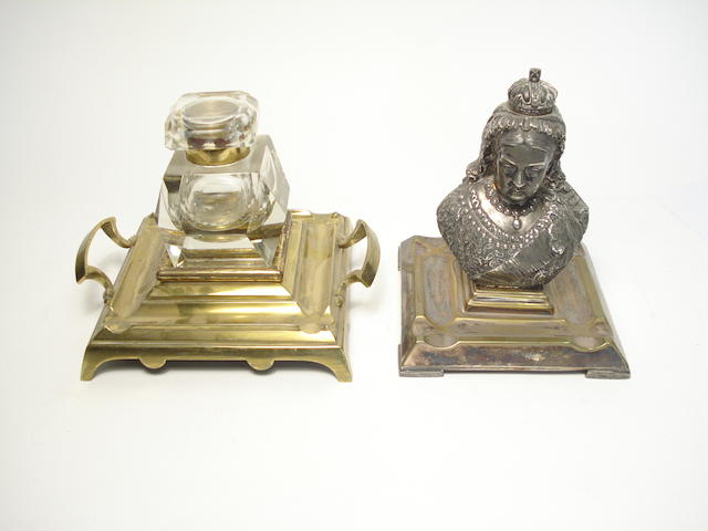 A white metal inkstand formed as the bust of Queen Victoria