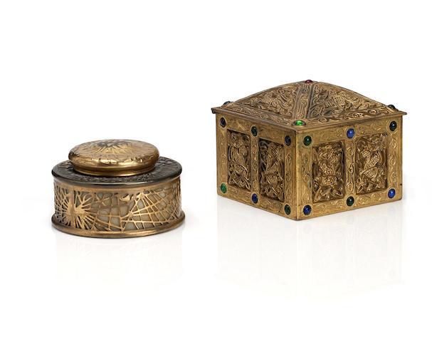 Tiffany Studios; A 'Ninth Century' pattern gilt brass inkwell