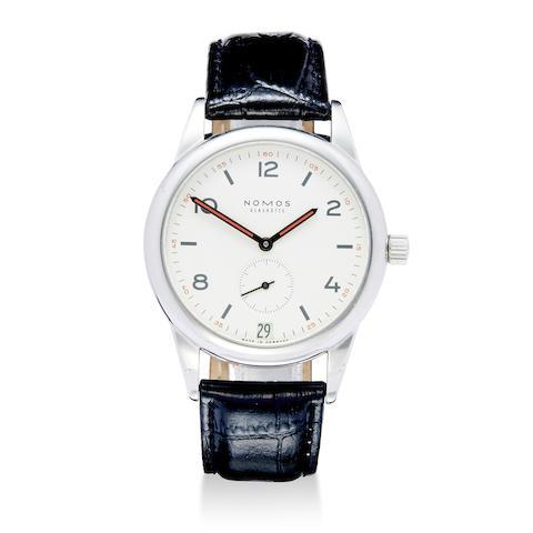 Nomos, Glashütte. A fine stainless steel wristwatch with date