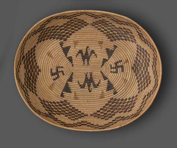 A Mission polychrome oval basket