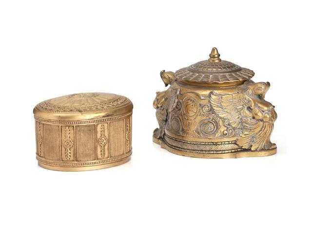Tiffany Studios; A gilt-brass 'Spanish' pattern Inkwell