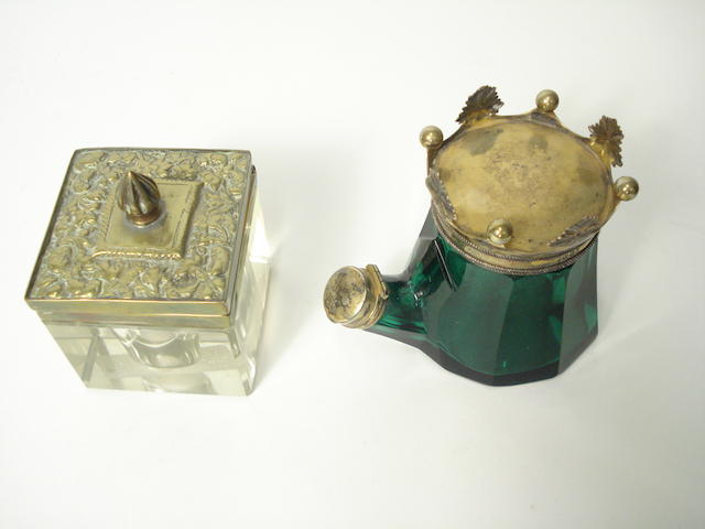 A Victorian silver gilt mounted inkwell in the form of a tea kettle