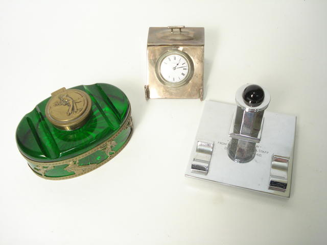 A 20th Century green glass inkwell