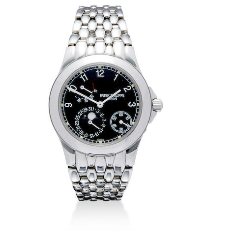 A fine stainless steel automatic calendar bracelet watch with moon phase and power reserve