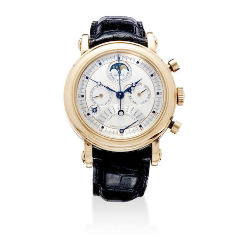 A fine 18K rose gold automatic chronograph wristwatch with perpetual calendar, moon phase and equation of time